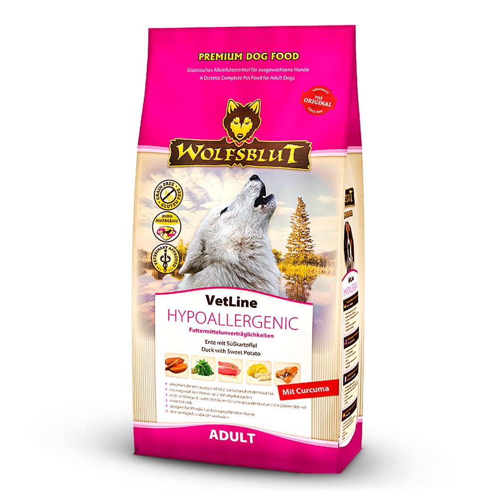 12 kg | Wolfsblut | Hypoallergenic mit Ente und Süßkartoffel VetLine | Trockenfutter | Hund