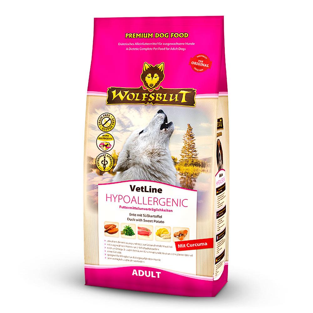 500 g | Wolfsblut | Hypoallergenic mit Ente und Süßkartoffel VetLine | Trockenfutter | Hund