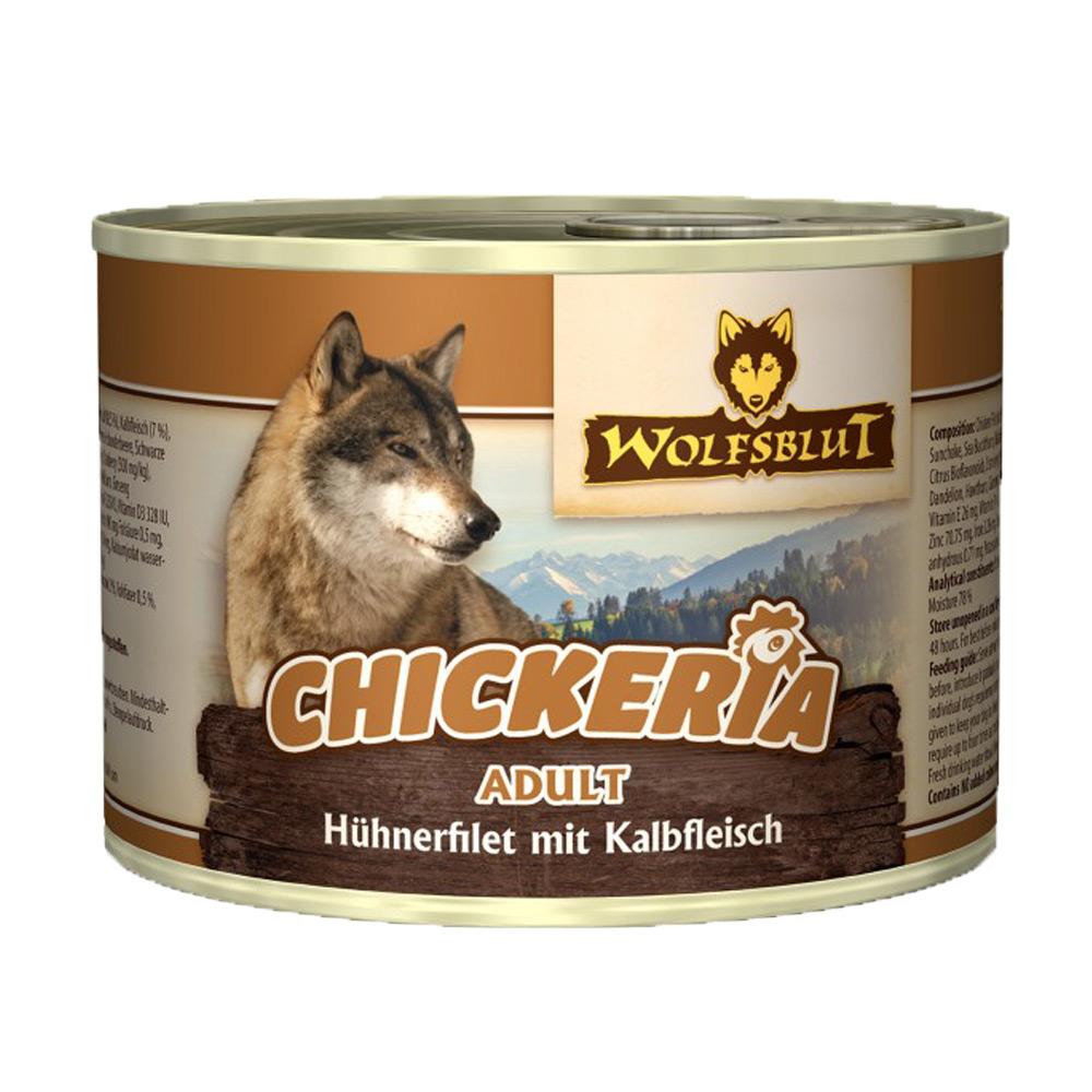 6 x 190 g | Wolfsblut | Chickeria mit Hühnerfilet und Kalbfleisch Adult | Nassfutter | Hund